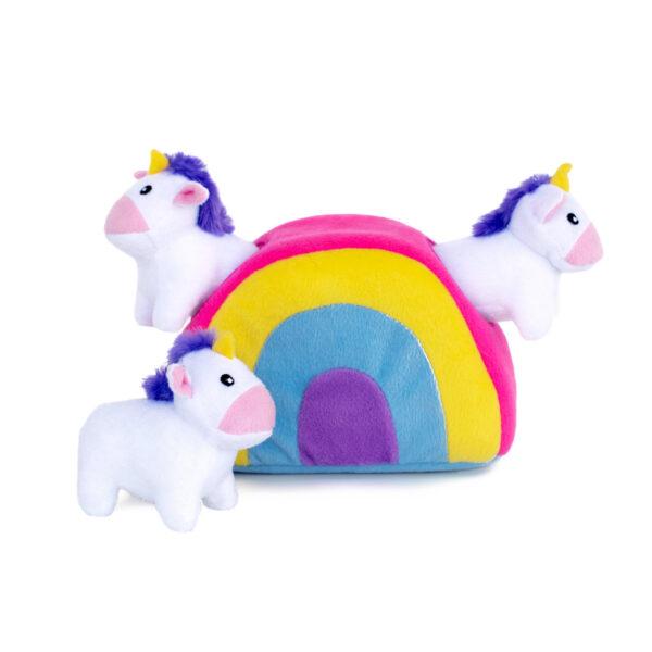 ZippyPaws Burrow Unicorns in Rainbow Interactive Dog Toy