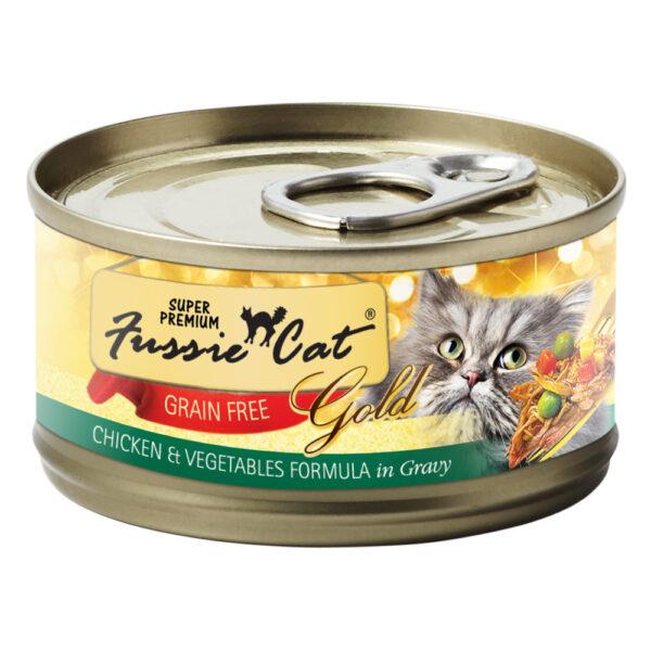 Super Premium Fussie Cat Gold Grain Free Chicken & Vegetables in Gravy Formula Canned Cat Food