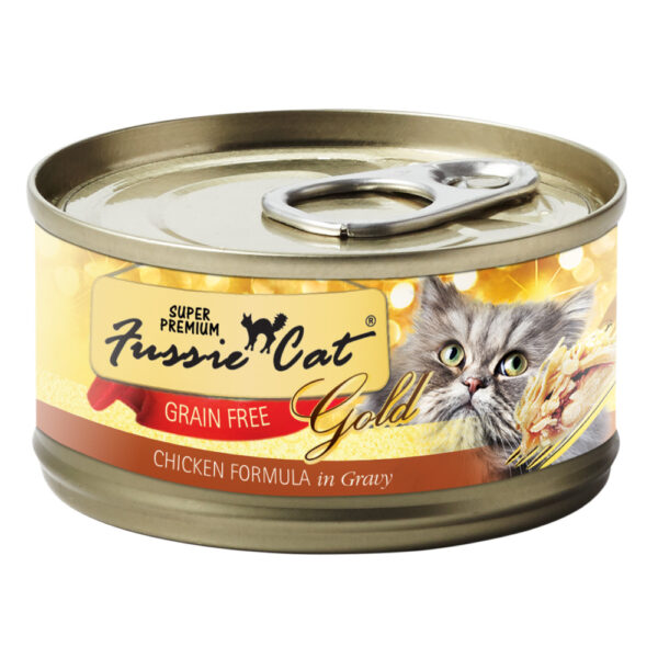 Super Premium Fussie Cat Gold Grain Free Chicken in Gravy Formula Canned Cat Food