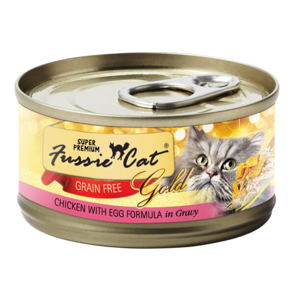 Super Premium Fussie Cat Gold Grain Free Chicken with Egg in Gravy Formula Canned Cat Food