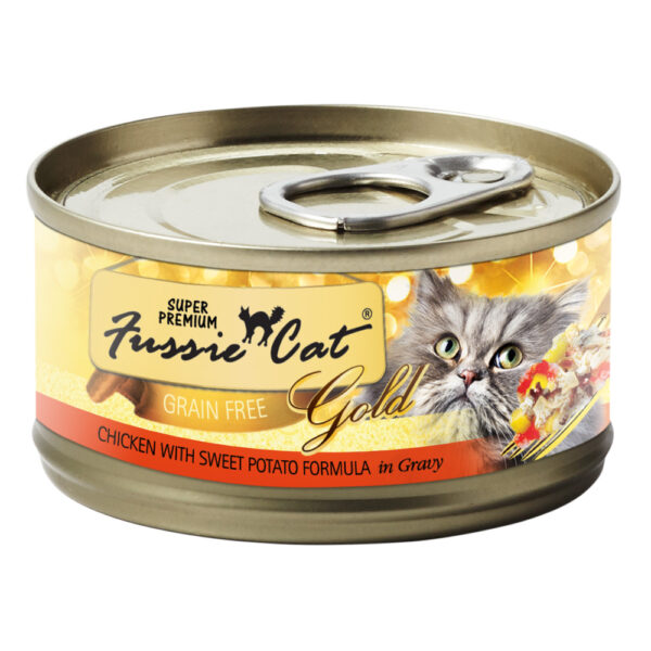 Super Premium Fussie Cat Gold Grain Free Chicken with Sweet Potato in Gravy Formula Canned Cat Food