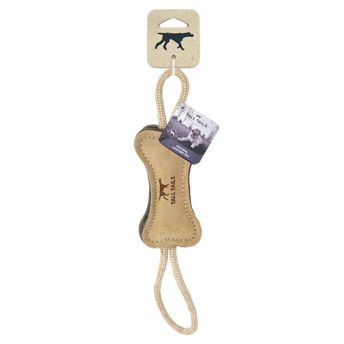 Tall Tails Natural Leather Bone Tug Toy