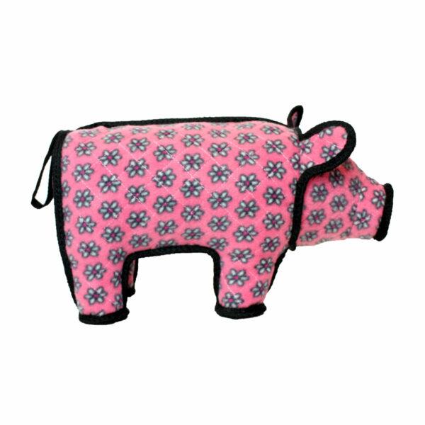 Tuffy Barnyard Pig Pink Flower Dog Toy