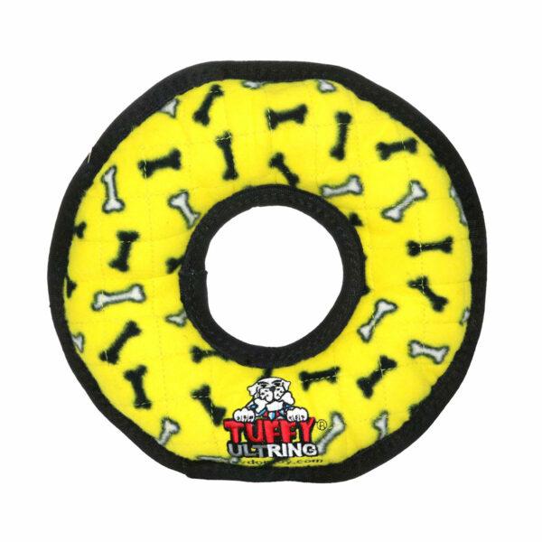 Tuffy Ultimate Ring Yellow Bone Dog Toy
