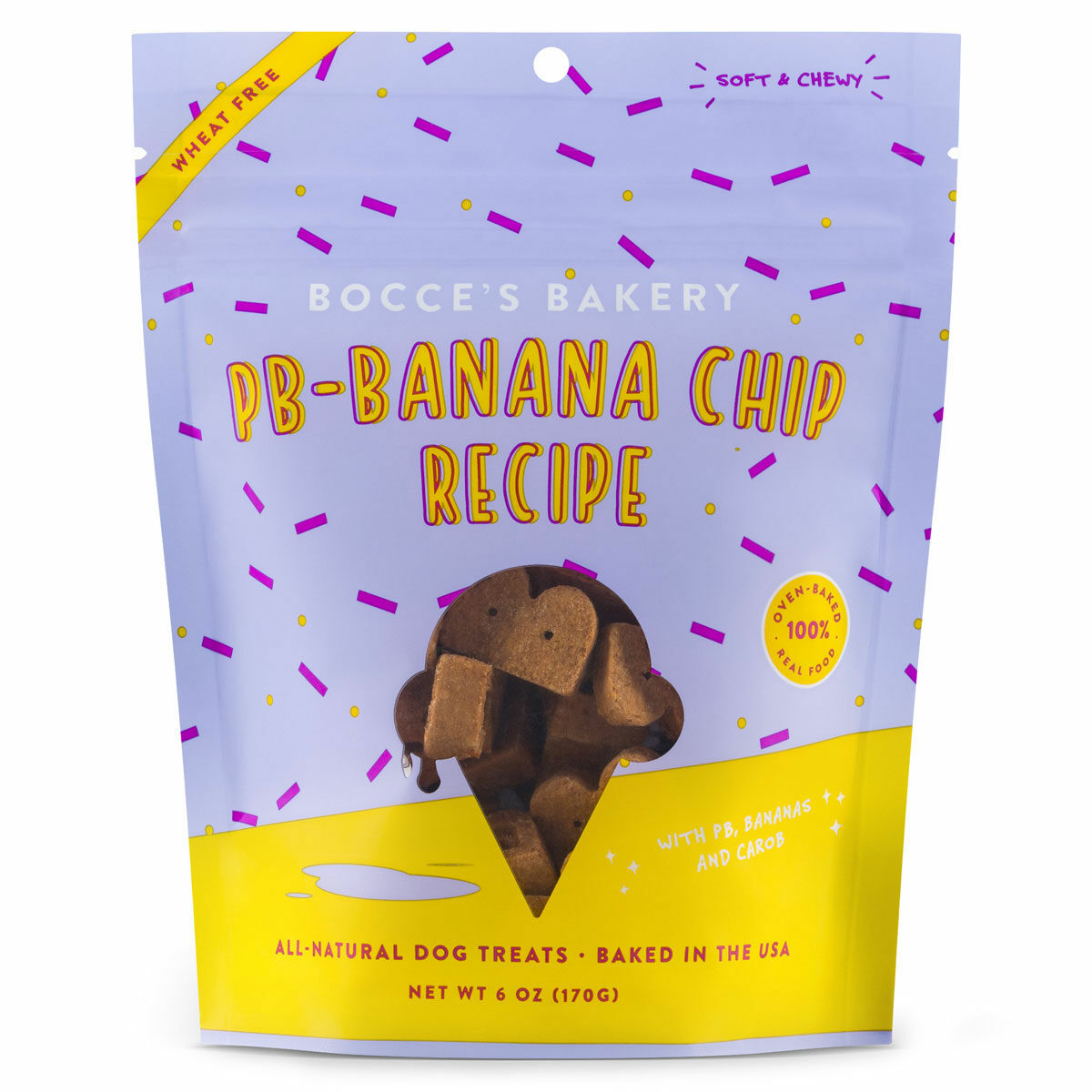 Bocce's Bakery Scoop Shop PB-Banana Chip Dog Biscuits