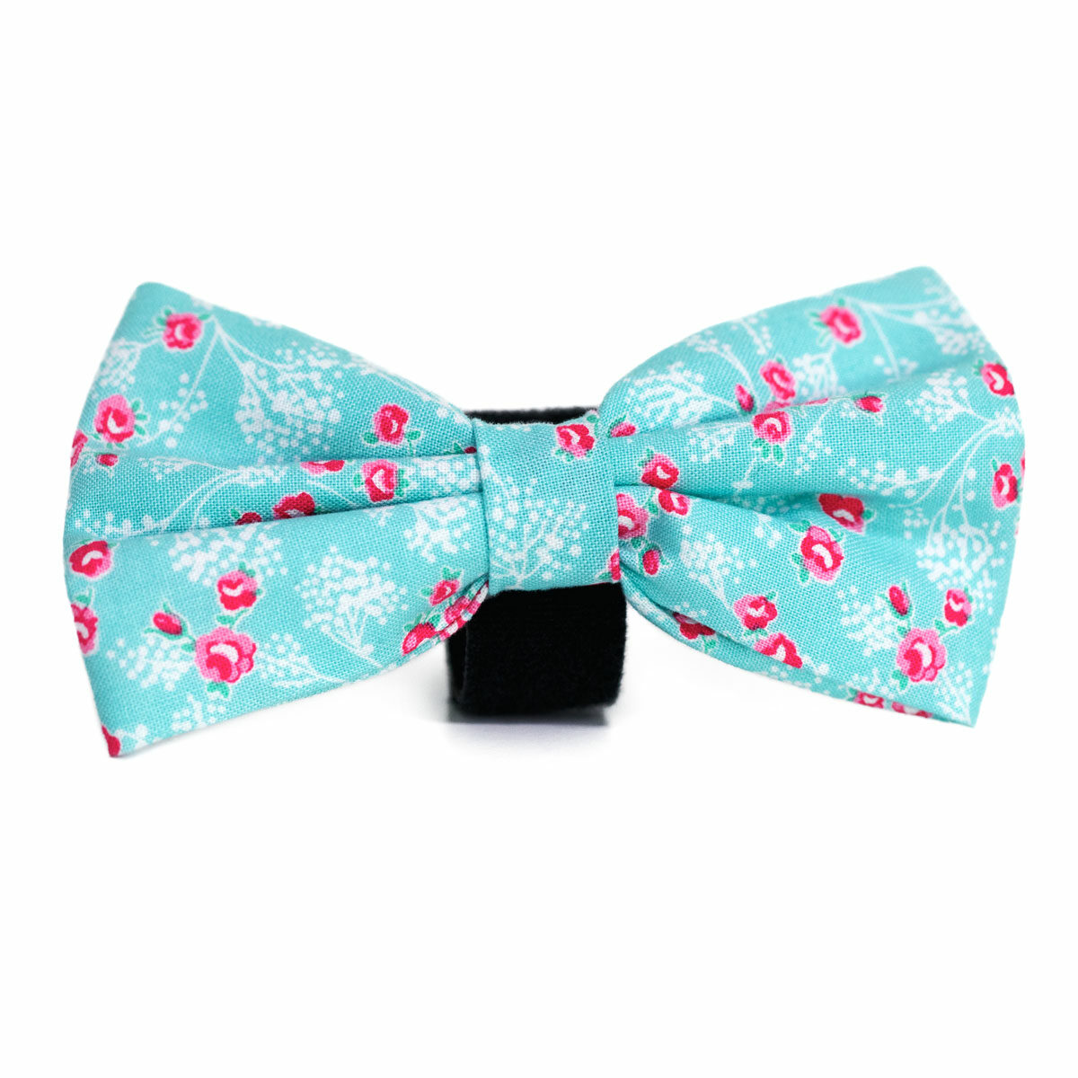 Hala's Paws Bow Tie Turquoise with Pink Flowers