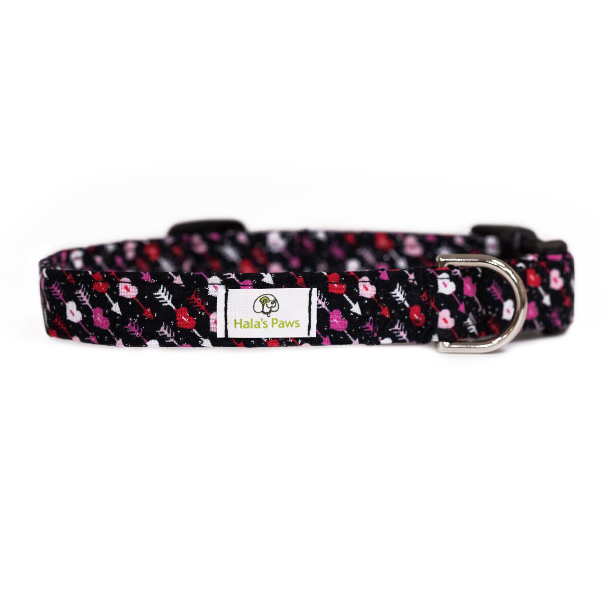 Hala's Paws Collar - Black Glitter Hearts and Arrows